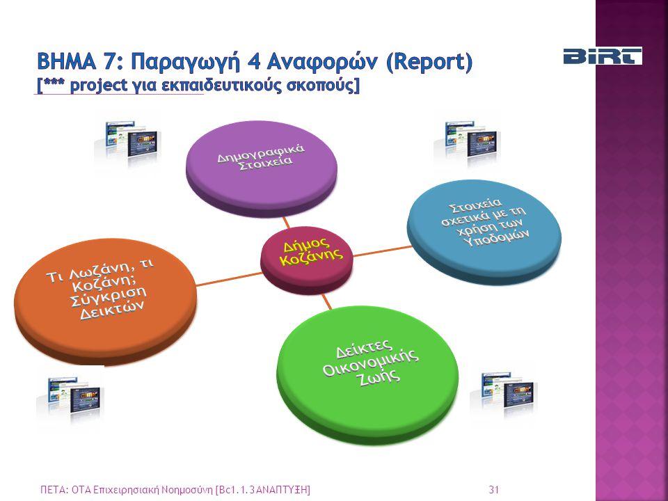 ΒΗΜΑ 7: Παραγωγή 4 Αναφορών (Report) [